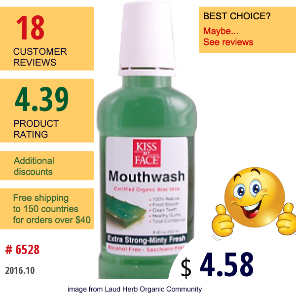 Kiss My Face, Oc, Mouthwash, Certified Organic Aloe Vera, 8.45 Oz (250 Ml)