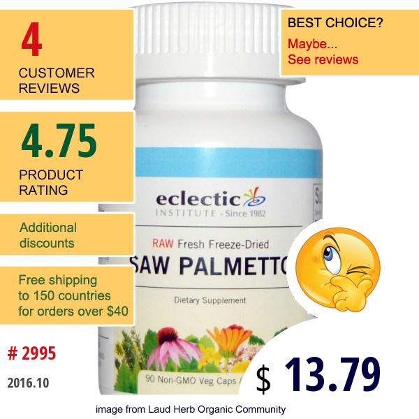 Eclectic Institute, Saw Palmetto , 600 Mg, 90 Non-Gmo Veggie Caps