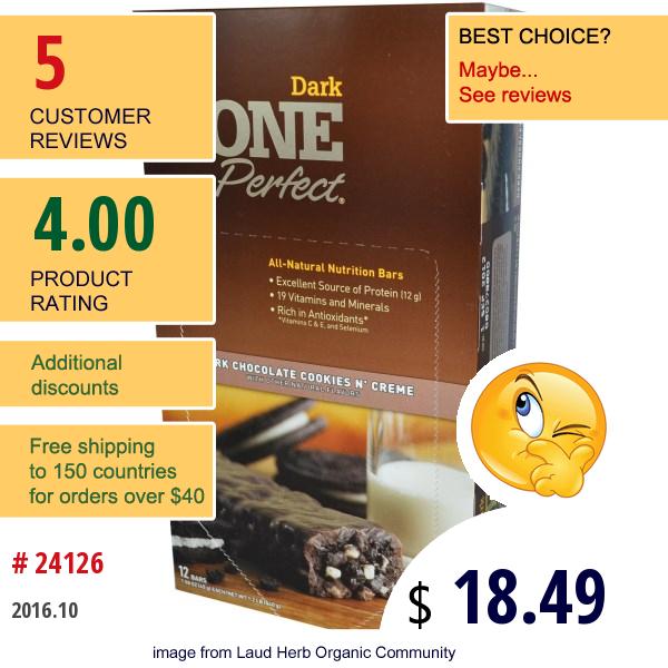 Zoneperfect, Dark, All-Natural Nutrition Bars, Dark Chocolate Cookies N Creme, 12 Bars, 1.58 Oz (45 G) Each