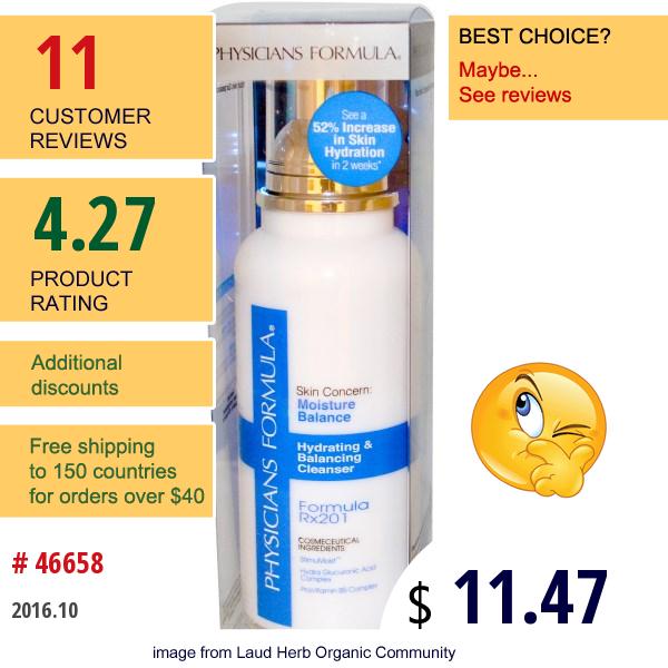 Physicians Formula, Inc., Hydrating & Balancing Cleanser, Formula Rx201, 5.0 Fl Oz (148 Ml)