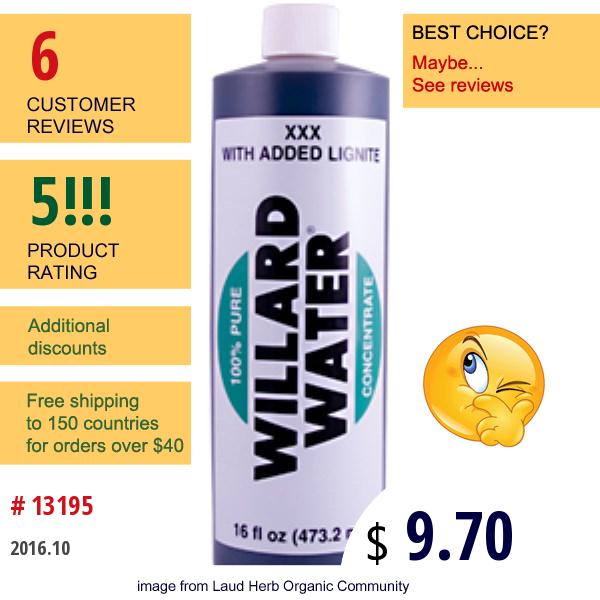 Willard, Willard Water, Xxx With Added Lignite, 16 Fl Oz (473.2 Ml)