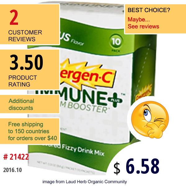 Emergen-C, Emergen-C, Immune + System Booster, Citrus Flavor, 10 Packets, 0.3 Oz (8.6 G) Each