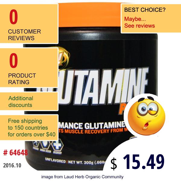 Oh Yeah!, Glutamine Power, Performance Glutamine Complex, Unflavored, .66 Lbs (300 G)