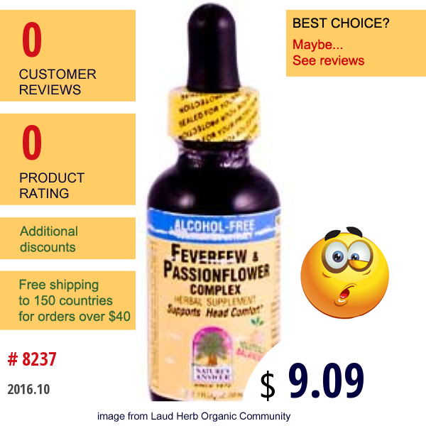 Natures Answer, Feverfew & Passionflower Complex, Alcohol-Free, 1 Fl Oz (30 Ml)