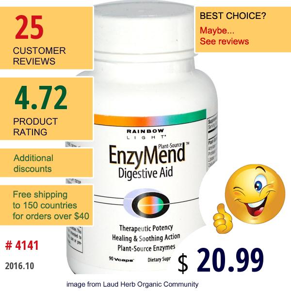 Rainbow Light, Enzymend Digestive Aid, 90 Vcaps