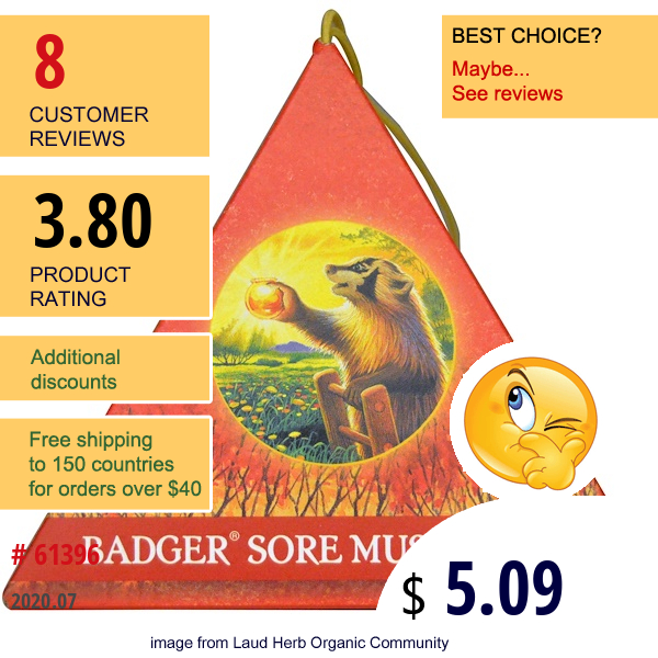 Badger Company, Sore Muscle Rub Ornament, Original Blend, Cayenne & Ginger, .75 Oz
