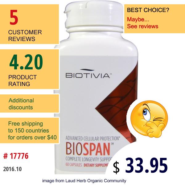 Biotivia, Bio Span, 500 Mg, 60 Veggie Caps