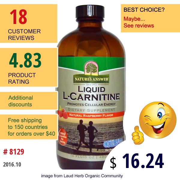 Natures Answer, Liquid L-Carnitine, Natural Raspberry Flavor, 16 Fl Oz (480 Ml)