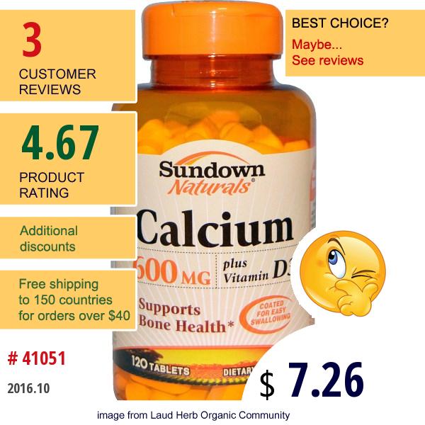 Rexall Sundown Naturals, Calcium, Plus Vitamin D3, 600 Mg, 120 Tablets