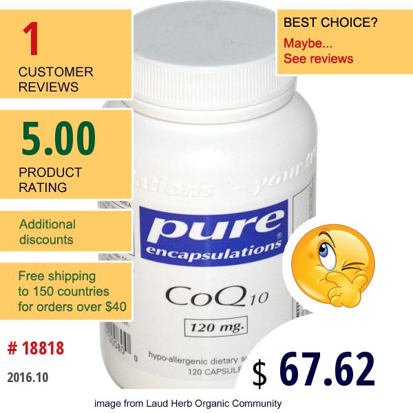Pure Encapsulations, Coq10, 120 Mg, 120 Capsules