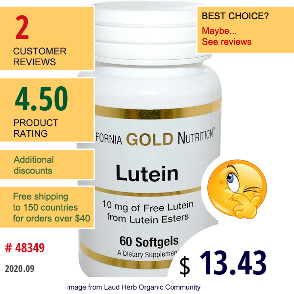 California Gold Nutrition, Lutein, 10 Mg, 60 Softgels