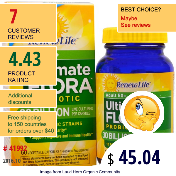 Renew Life, Ultimate Flora Probiotic, Adult 50+, 30 Billion, 60 Veggie Caps