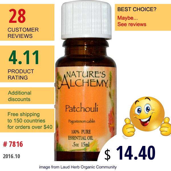 Natures Alchemy, Patchouli, Essential Oil, 0.5 Oz (15 Ml)