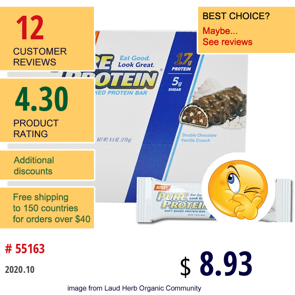 Pure Protein, Soft Baked Protein Bar, Double Chocolate Vanilla Crunch, 6 Bars, 1.58 Oz (45 G) Each