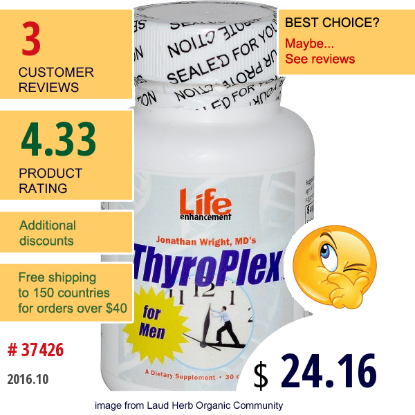 Life Enhancement, Thyroplex For Men, 30 Capsules