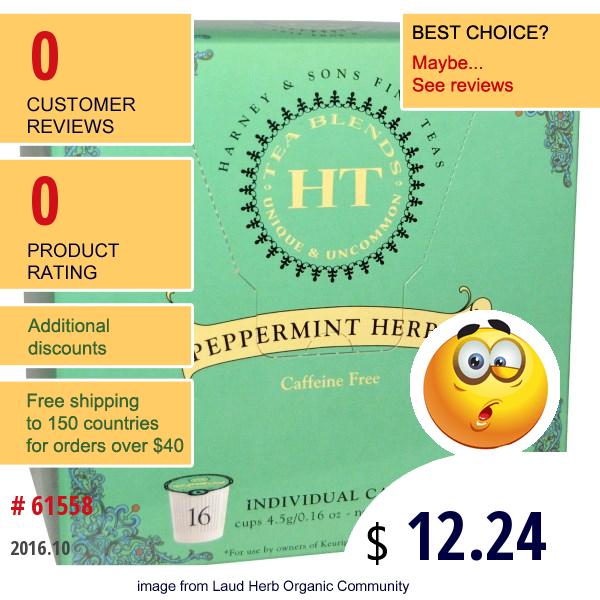 Harney & Sons, Peppermint Herbal Tea, Caffeine Free, 16 Cups, 0.16 Oz (4.5 G) Each
