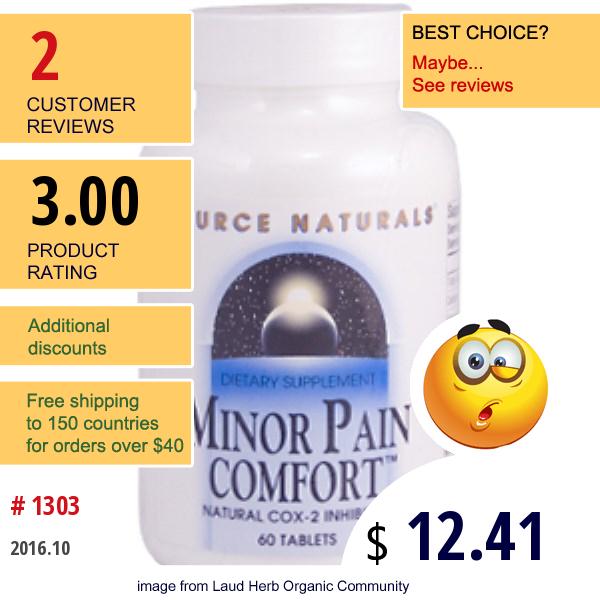 Source Naturals, Minor Pain Comfort, 60 Tablets