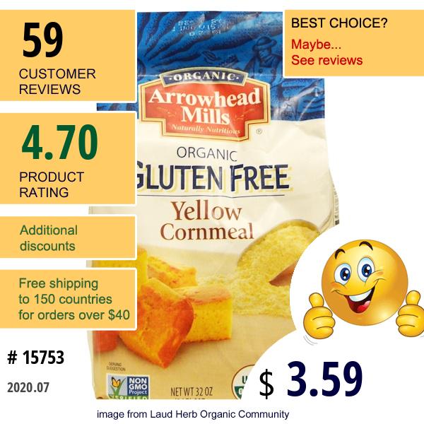 Arrowhead Mills, Organic Yellow Cornmeal, 32 Oz (907 G)