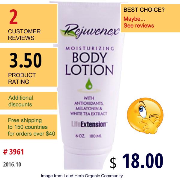 Life Extension, Rejuvenex, Moisturizing Body Lotion, 6 Oz (180 Ml)