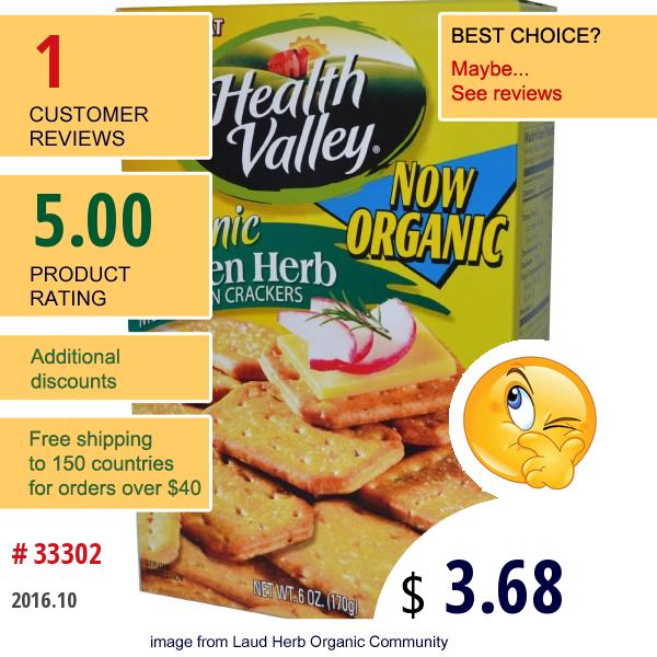 Health Valley, Organic Multigrain Crackers, Garden Herb, 6 Oz (170 G)