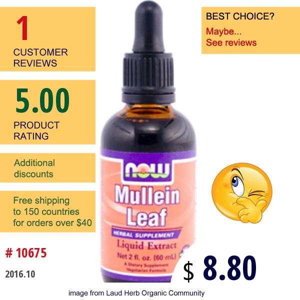 Now Foods, Mullein Leaf, Liquid Extract, 2 Fl Oz (60 Ml)