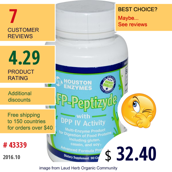 Houston Enzymes, Afp-Peptizyde With Dpp Iv Activity, With Cellulose, 90 Capsules