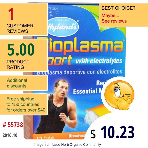 Hylands, Bioplasma Sport With Electrolytes, Citrus Flavor, 12 Packets