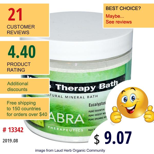 Abra Therapeutics, Muscle Therapy Bath, Eucalyptus & Rosemary, 17 Oz (482 G)