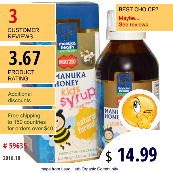 Manuka Health, Manuka Honey Kids Syrup, Mgo 250+, 3.5 Fl Oz (100 Ml)