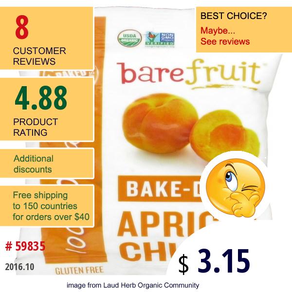 Bare Fruit, Bake-Dried Apricot Chunks, 2.2 Oz (63 G)