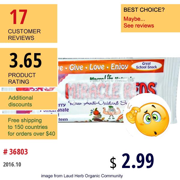 Special, Miracle Reds, Raw Anti-Oxidant Super Food Bar, Fresh Berri-Berri, 1.5 Oz (42 G)