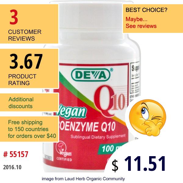 Deva, Vegan Coenzyme Q10, 100 Mg, 60 Tablets