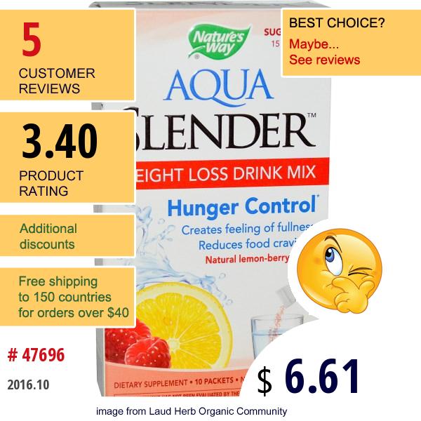Natures Way, Aqua Slender, Weight Loss Drink Mix, Lemon-Berry Flavor, 10 Packets, 7 G Each