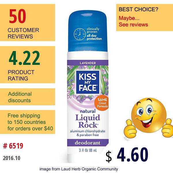 Kiss My Face, Natural Liquid Rock Deodorant, Lavender, 3 Fl Oz (88 Ml)