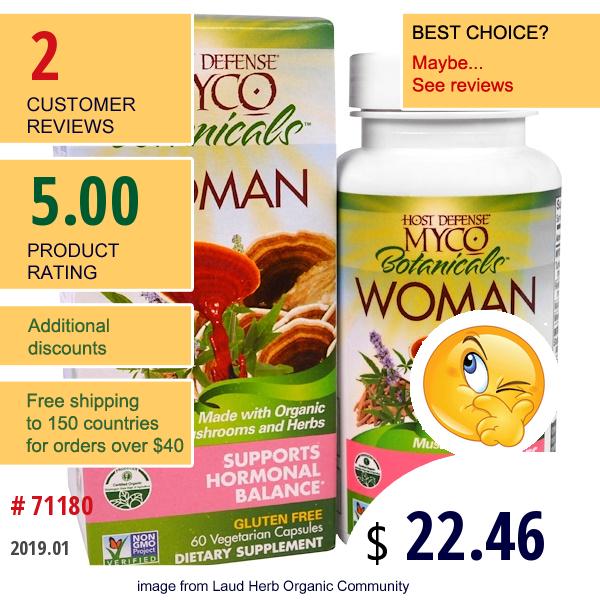 Fungi Perfecti, Host Defense, Myco Botanicals Woman, Supports Hormonal Balance, 60 Veggie Caps