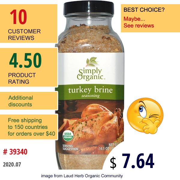 Simply Organic, Turkey Brine Seasoning, 14.1 Oz (400 G)