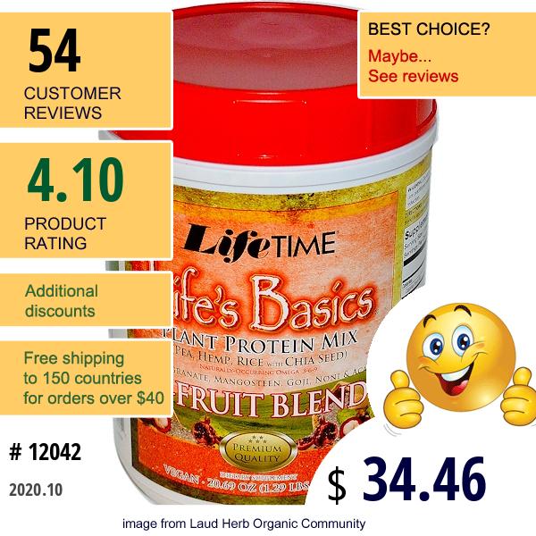 Lifetime Vitamins, Life'S Basics, Plant Protein Mix, With 5-Fruit Blend, 20.69 Oz (586.5 G)