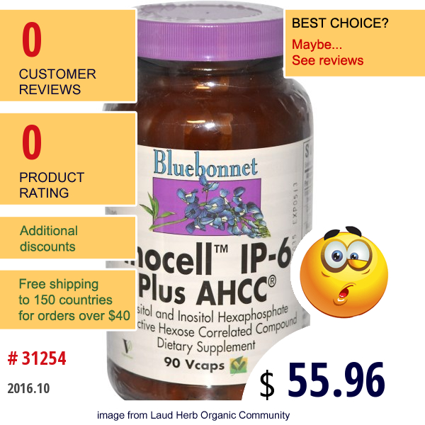 Bluebonnet Nutrition, Inocell Ip-6 Plus Ahcc, 90 Vcaps