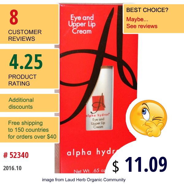 Neoteric Cosmetics Inc, Alpha Hydrox, Eye And Upper Lip Cream, .65 Oz (18 G)