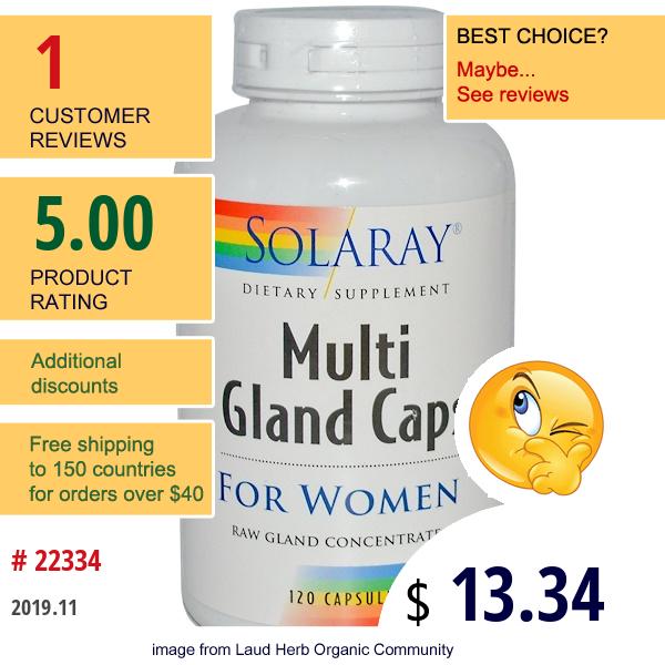 Solaray, Multi Gland Caps, For Women, 120 Capsules