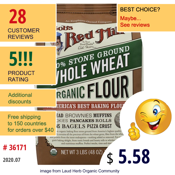 Bob'S Red Mill, Organic Whole Wheat Flour, 48 Oz (1.36 Kg)