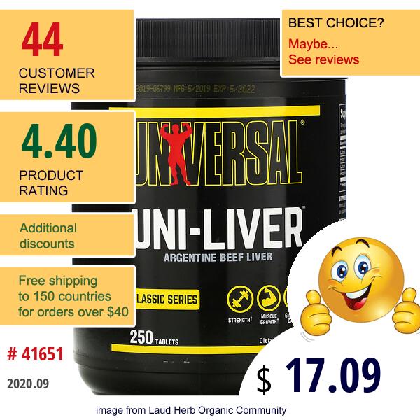 Universal Nutrition, Uni-Liver, Desiccated Liver Supplement, 250 Tablets