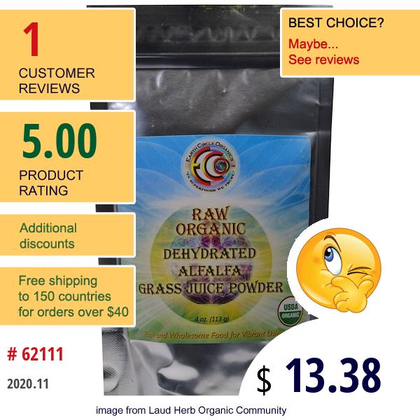 Earth Circle Organics, Raw Organic Dehydrated Alfalfa Grass Juice Powder, 4 Oz (113.4 G)