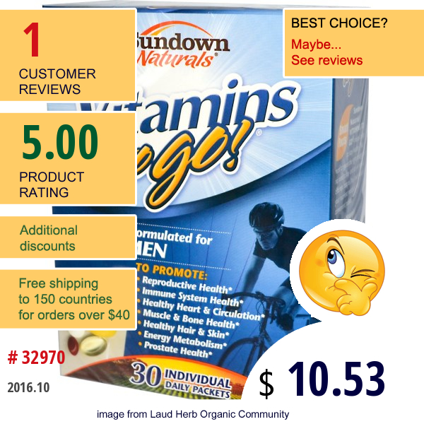 Rexall Sundown Naturals, Vitamins To Go! For Men 30 Individual Daily Packets