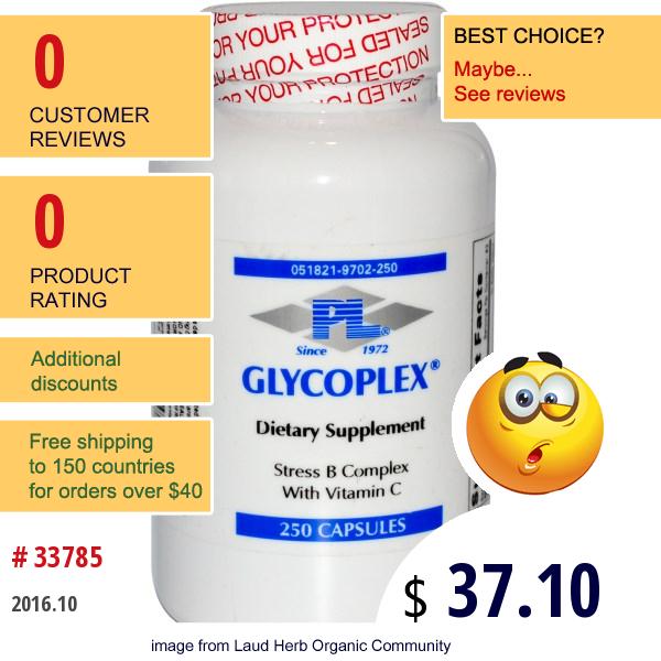 Progressive Laboratories, Glycoplex, Stress B Complex With Vitamin C, 250 Capsules