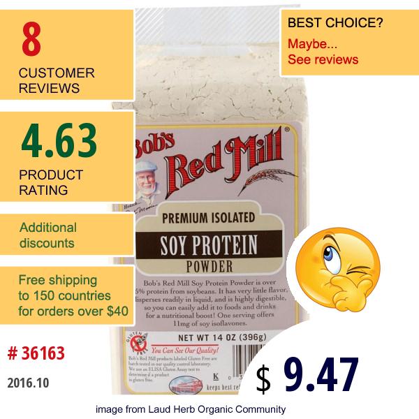 Bobs Red Mill, Soy Protein Powder, 14 Oz (396 G)