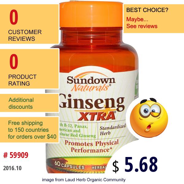 Rexall Sundown Naturals, Ginseng Xtra, 60 Capsules