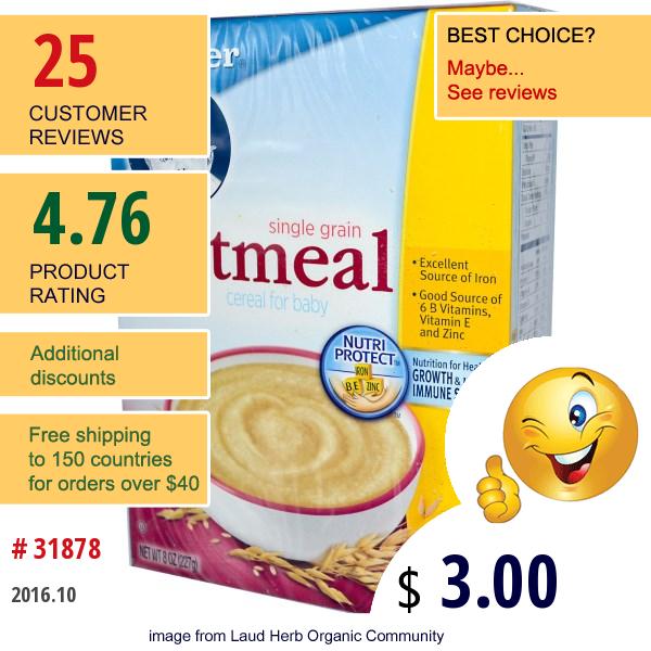 Gerber, Cereal For Baby, Single Grain Oatmeal, 8 Oz (227 G)