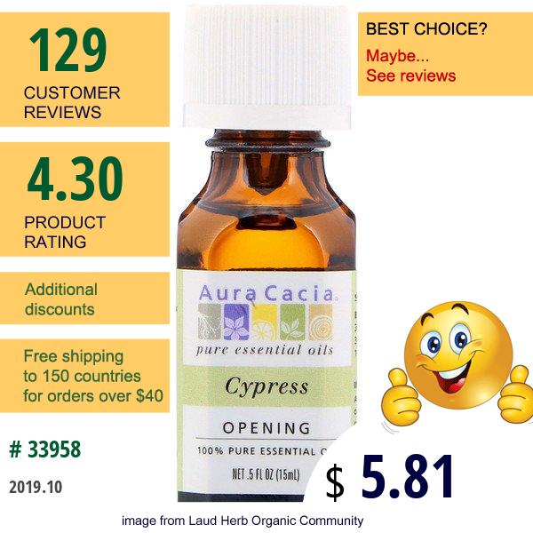 Aura Cacia, 100% Pure Essential Oil, Cypress, .5 Fl Oz (15 Ml)