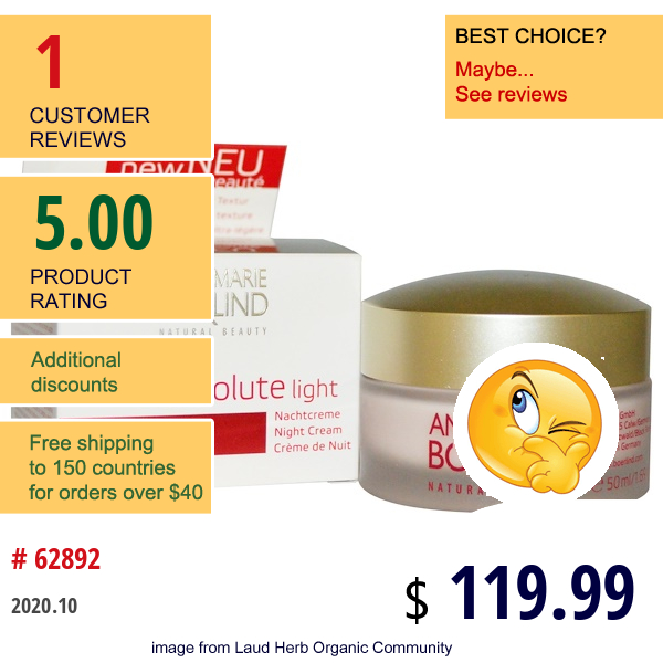 Annemarie Borlind, System Absolute Light, Anti-Aging Night Cream, 1.69 Fl Oz (50 Ml)